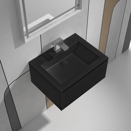 Meuble-vasque June Black en Solid Surface - 1 tiroir