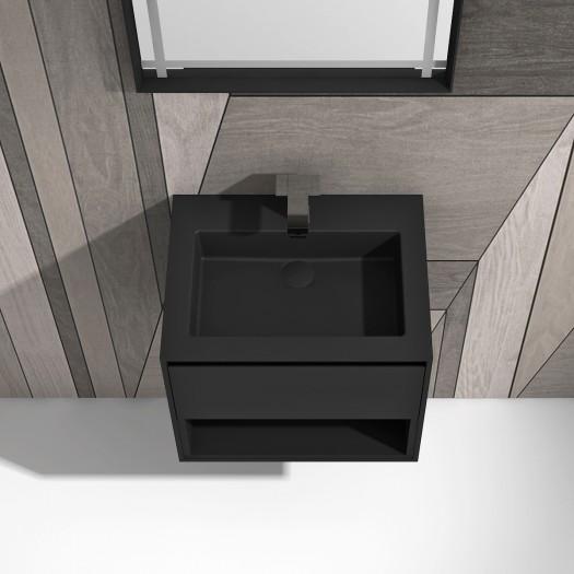 Meuble-vasque June Black en Solid Surface - 1 tiroir + 1 alcove