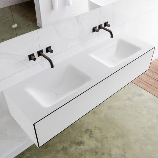 Plan Double Vasque Solid Surface + Meuble Suspendu en MDF - 2 Tiroir