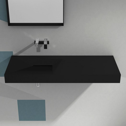 Lavabo à suspendre Linaria 100cm Black en Solid Surface