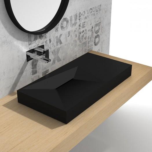 Lavabo à suspendre Linaria Black 90cm en Solid Surface
