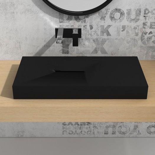 Lavabo à suspendre Linaria 80cm Black en Solid Surface