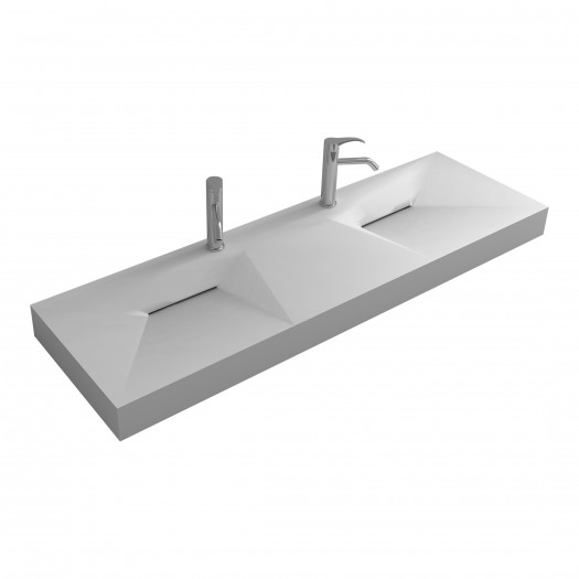 Double Lavabo mural Linaria en Solid Surface