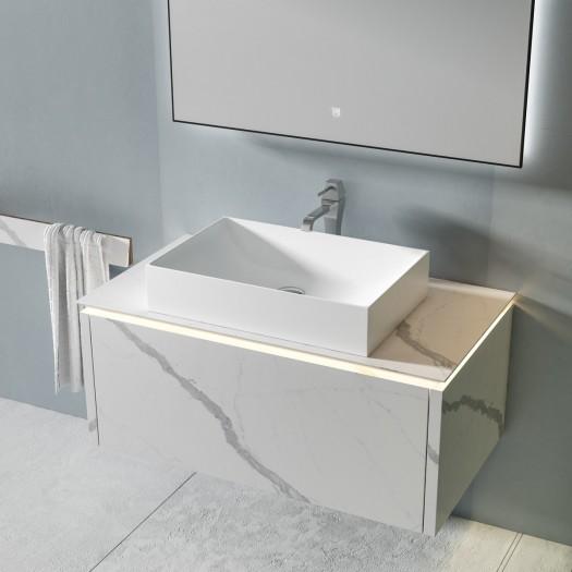 MICAR Ensemble salle de bain - Meuble 1 tiroir à suspendre avec Lavabo à poser + 1 miroir LED à écran tactile