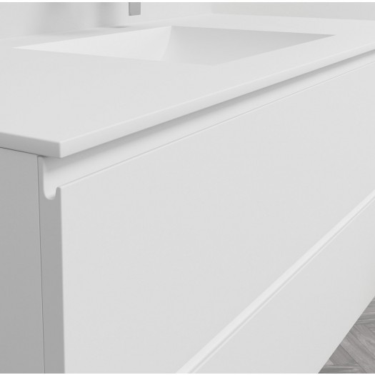 Ensemble Plan Vasque Refresh en Corian® sur meuble 2 tiroirs superposés