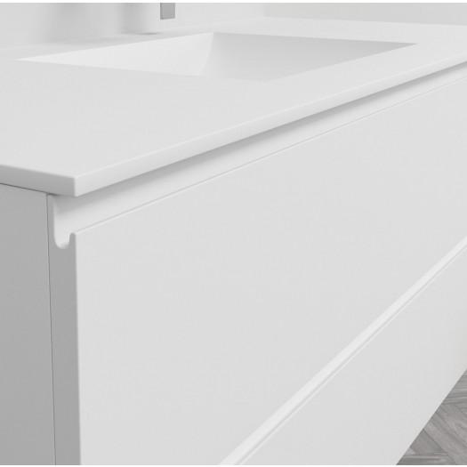 Ensemble Plan-vasque Corian® Refresh + Meuble suspendu Gaia Classic en MDF - 2 Tiroirs superposés