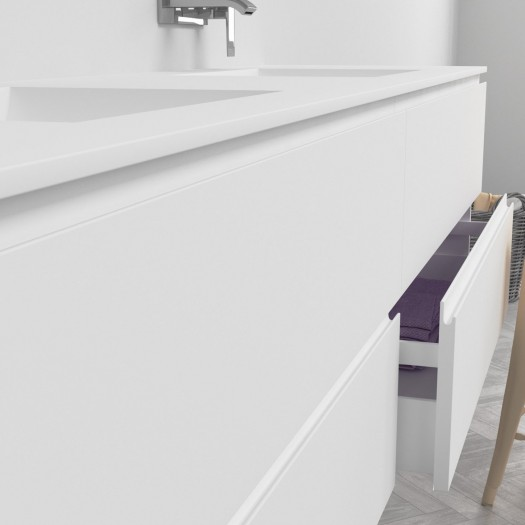 Ensemble Double Vasque Corian® Refresh + Meuble 4 Tiroirs