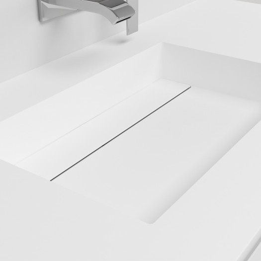 Ensemble Plan-vasque Corian® Texas + Meuble suspendu Gaia Classic en MDF - 1 Tiroir