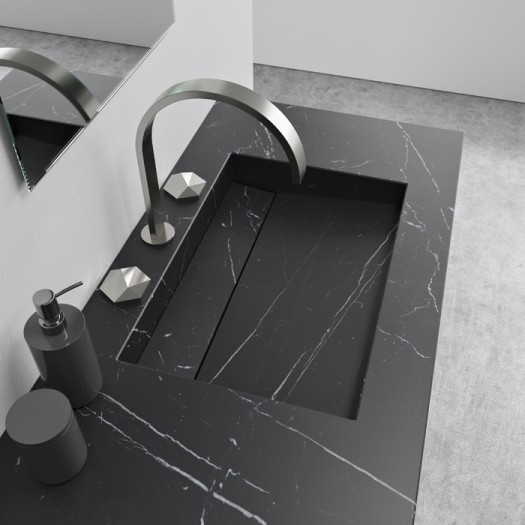 Double Plan Vasque Alabama en Marbre Nero Marquina