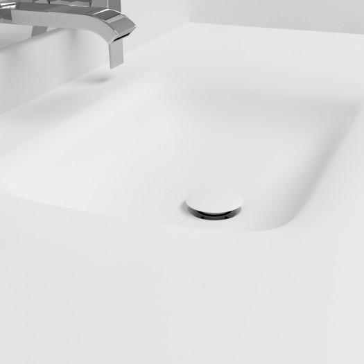 Ensemble Plan-vasque Corian® Nevada + Meuble suspendu Gaia Classic en MDF - 1 Tiroir