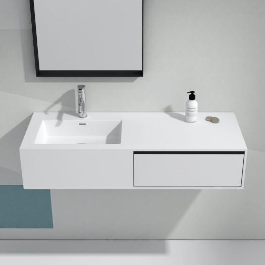 Petunia Meuble-lavabo mural en Solid Surface - 1 tiroir