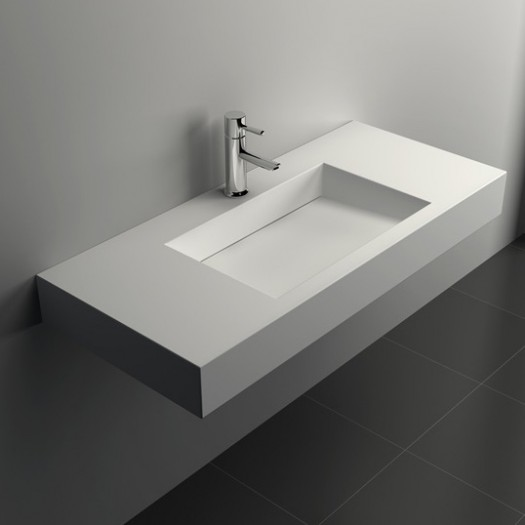 Lavabo à suspendre Poppy en Solid Surface