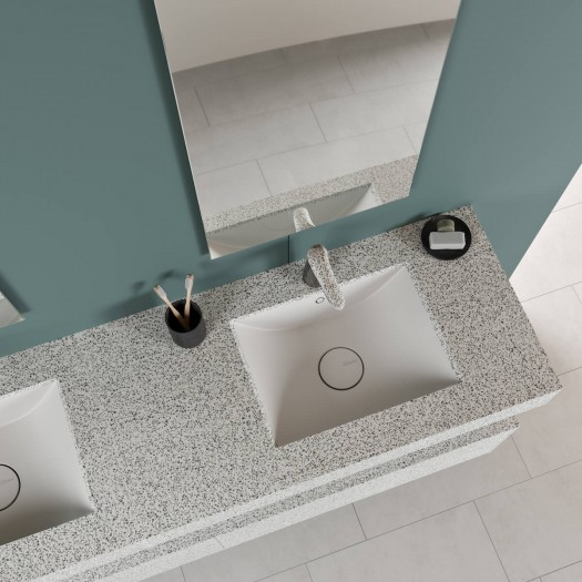Double vasque Refresh en Corian® Colour Domino Terrazzo