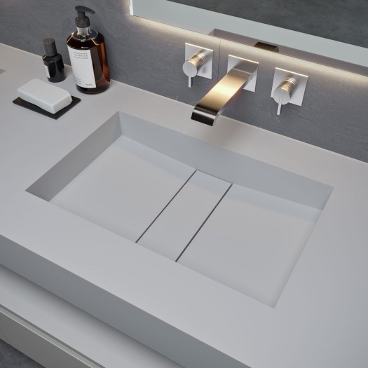 Double vasque en Corian® Silver Gray Area