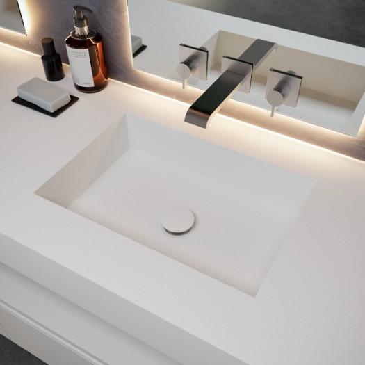 Ensemble Plan-vasque Corian® Square + Meuble suspendu Gaia Classic en MDF - 1 Tiroir