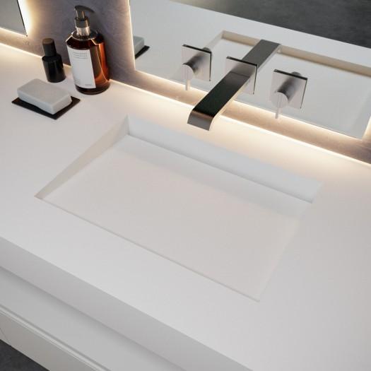 Ensemble Plan-vasque Corian® Tennessee + Meuble suspendu Gaia Classic en MDF - 2 Tiroirs superposés