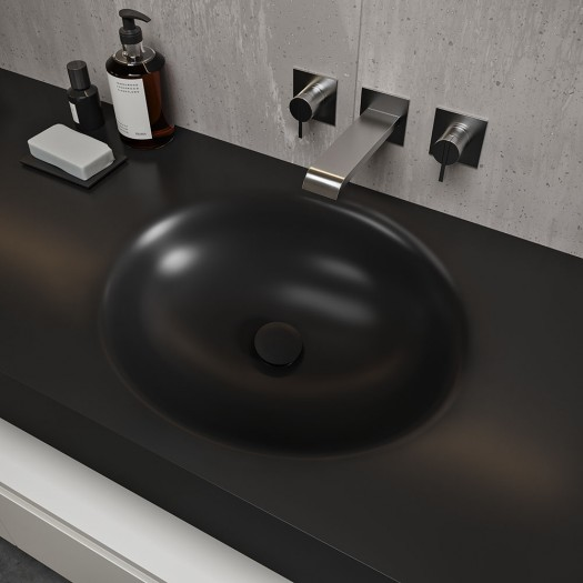 Double vasque Corian® Deep Nocturne Oval