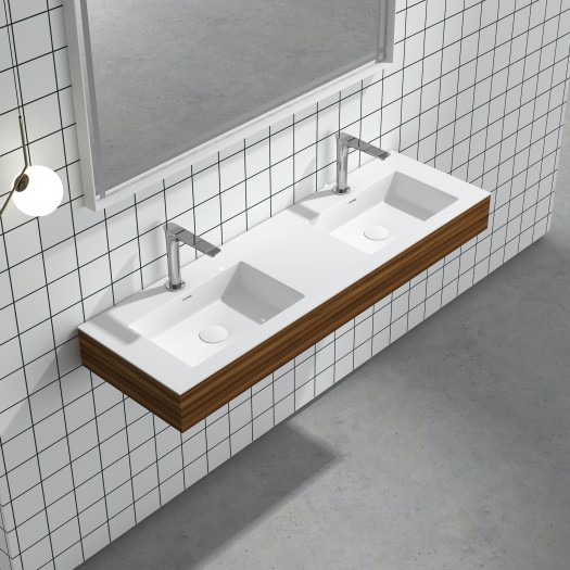 Lavabo à suspendre Ruta Double en Solid Surface