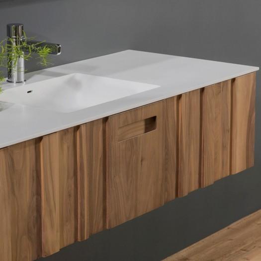 Ensemble KANTÉ - Vasque en Solid Surface + Meuble 1 tiroir Noyer Américain
