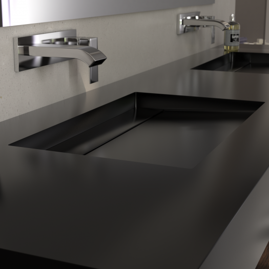 Double vasque Corian® Deep Nocturne Alabama