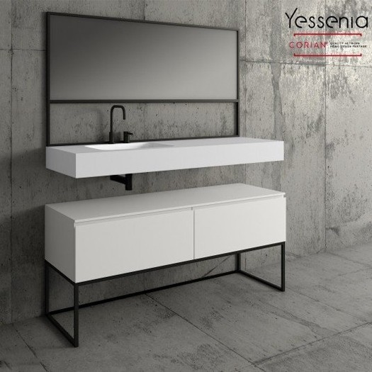 Ensemble Vasque Corian® + Meuble MDF sur base metal Yessenia