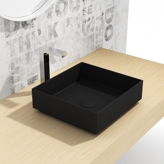 Vasque à poser en Solid Surface Zinnia Black 38cm