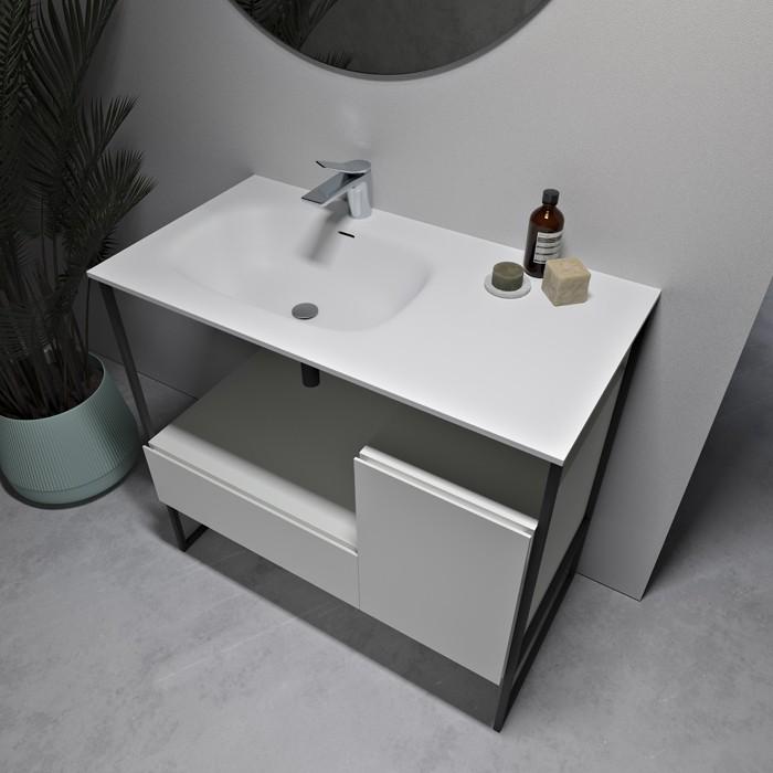 Amsterdam Meuble-vasque en Solid Surface et MDF - 1 tiroir + 1 porte