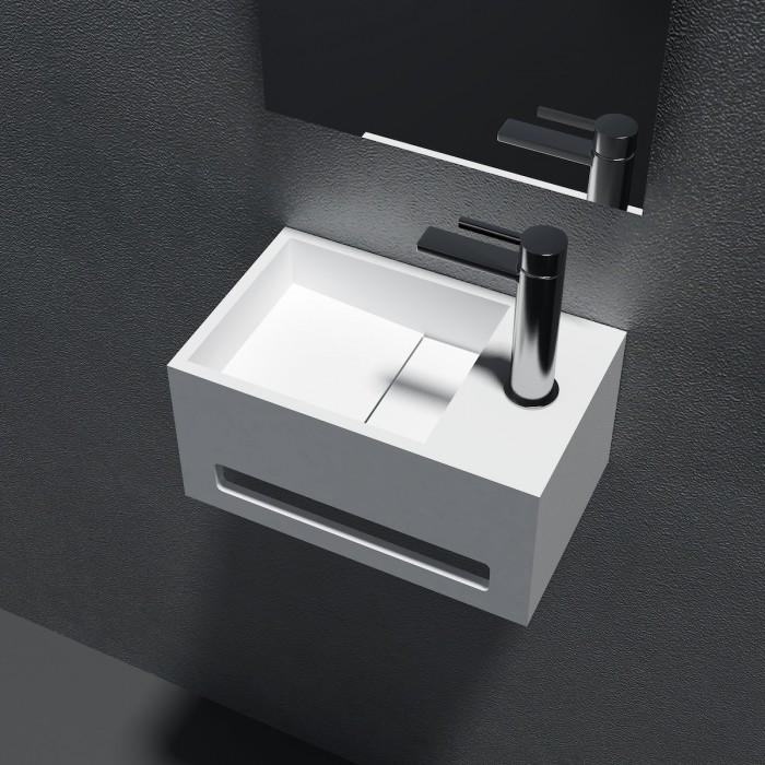 Lavabo mural Crocus Mini en Solid Surface