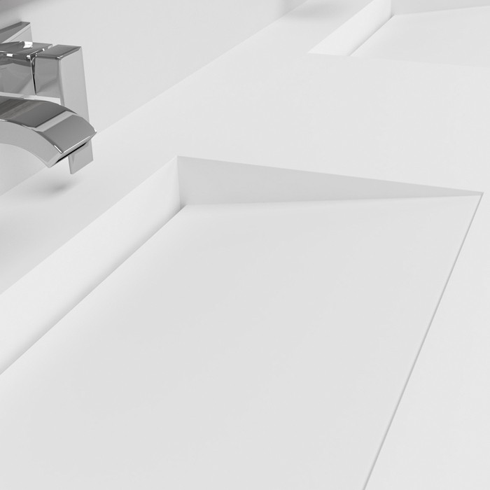 Ensemble Double Vasque Corian® + Meuble 6 tiroirs Chêne Massif