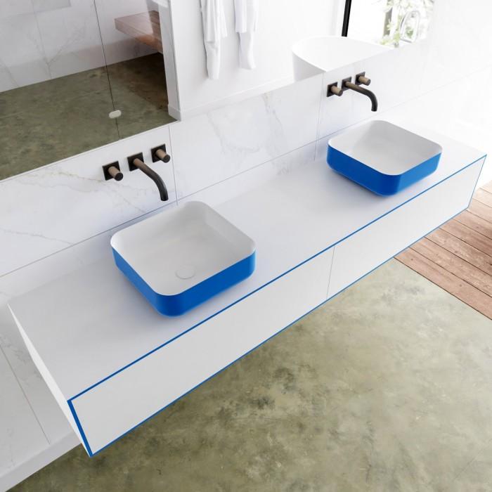 Double Vasque à Poser Solid Surface + Meuble Suspendu en MDF - 2 Tiroir