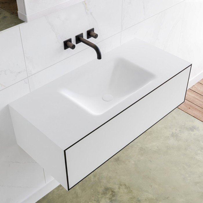Plan Vasque Solid Surface + Meuble Suspendu en MDF LAGO - 1 Tiroir