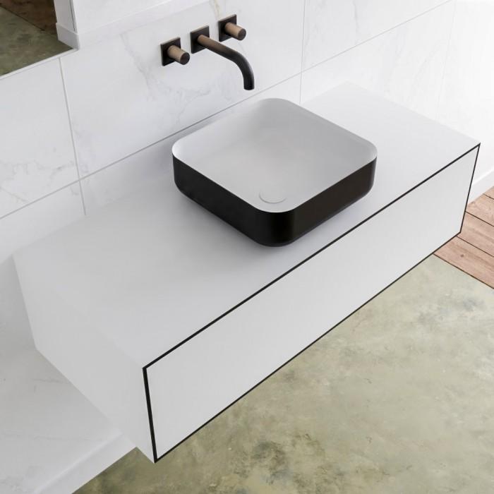 Vasque à Poser Solid Surface + Meuble Suspendu en MDF LAGO - 1 Tiroir