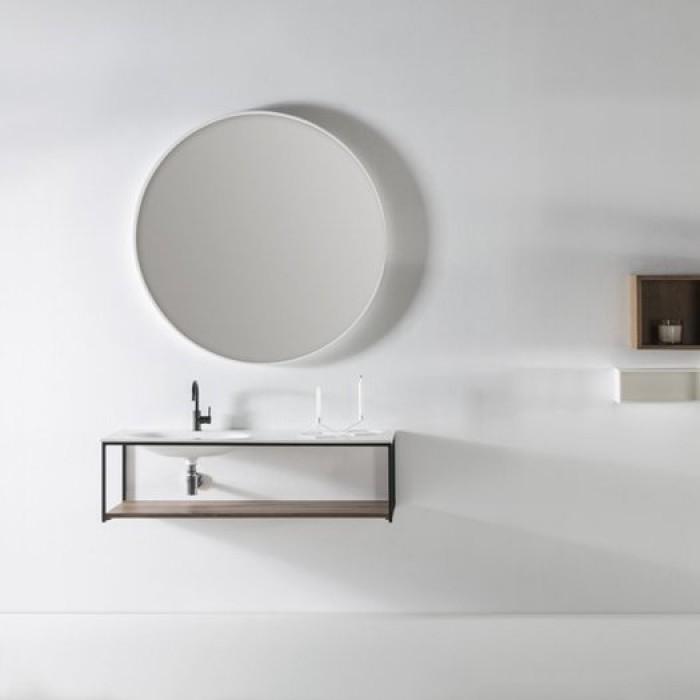 Plan vasque en Solid Surface DEPAY + meuble 1 Tiroir aligné/avec étagère