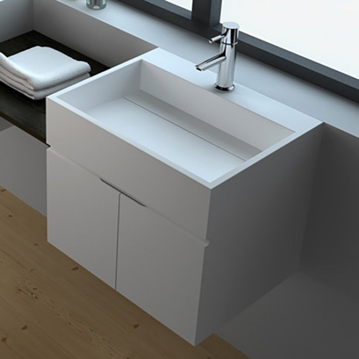 Meuble-lavabo mural Rosy en Solid Surface