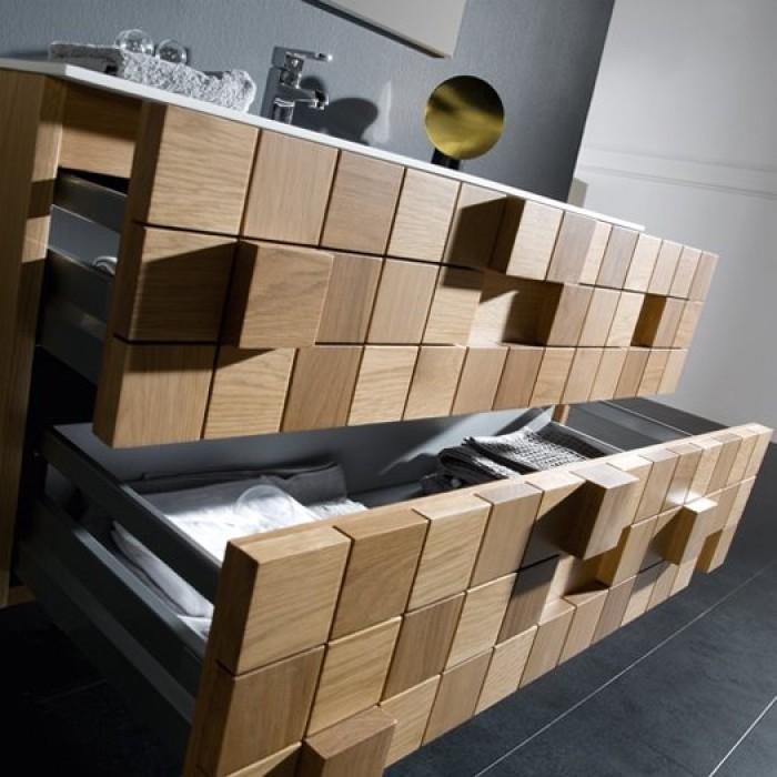 Plan vasque en Solid Surface RUBIK + meuble 2 Tiroirs superposés Chêne Américain