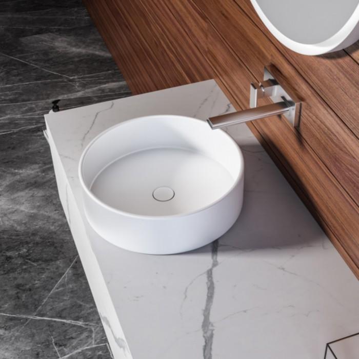 SHADO Ensemble salle de bain - Meuble à suspendre avec Lavabo à poser + 1 armoire + 1 miroir LED