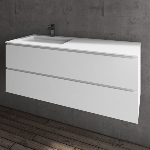 Ensemble Vasque Corian® Tennessee + Meuble 2 Tiroirs superposés