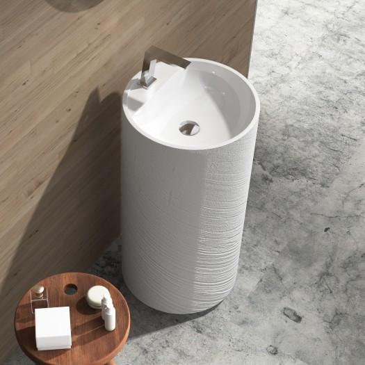 Lavabo colonne Dusk White en Solid Surface