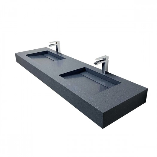 Double Vasque Alabama en Corian® Colour Mineral - 160x45x12cm