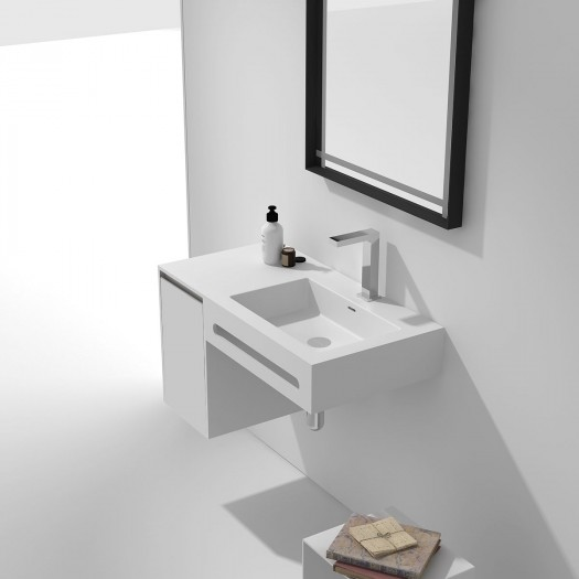 Meuble-vasque Alicia - 1 porte à gauche + porte-serviette