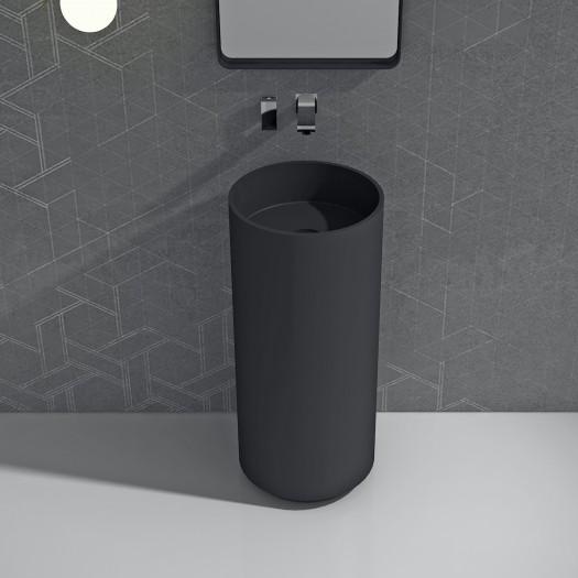 Lavabo colonne Blush Noir en Solid Surface