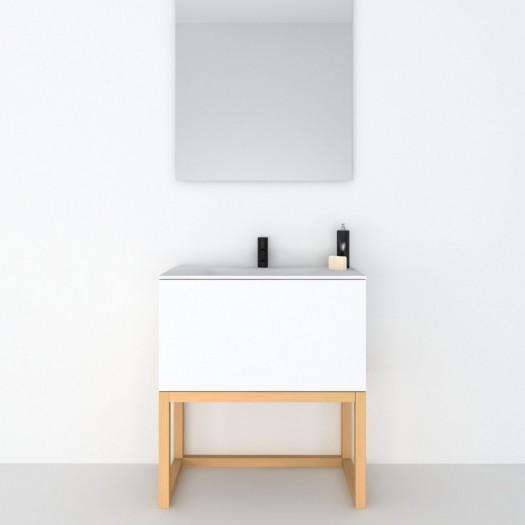 Meuble Combi sur base en bois 1 Tiroir + Plan vasque Corian®