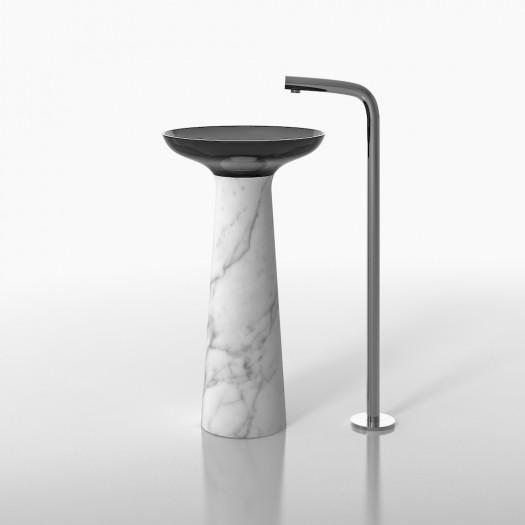 Lavabo colonne en Marbre Carrara et résine noire T1