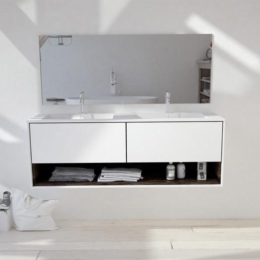 Ensemble double Vasque Corian® Toronto + Meuble Carthage V3