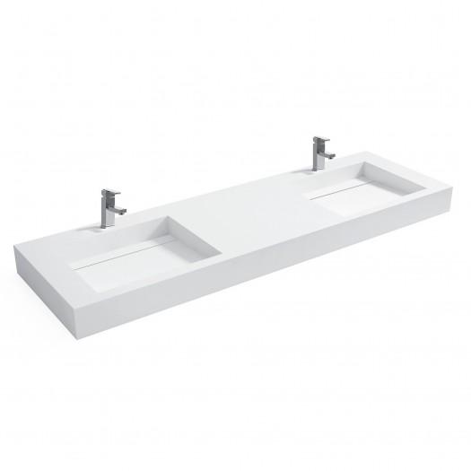 Double vasque à suspendre Consolea Plus en Solid Surface