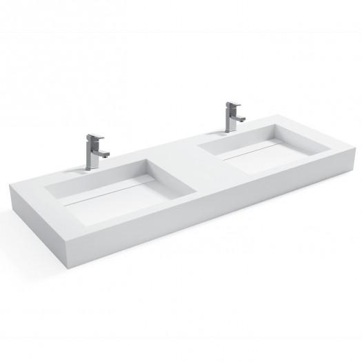 Double vasque à suspendre Consolea en Solid Surface