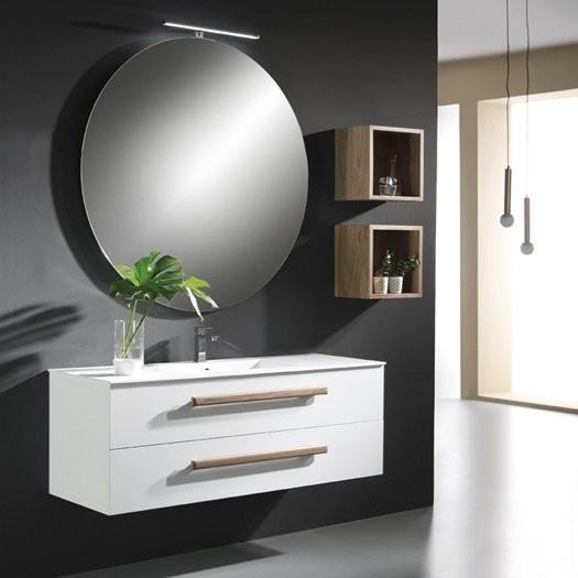 Plan vasque en Solid Surface TROPIC + meuble 2 Tiroirs Superposé Noyer Massif Américain/Chêne Massif Américain