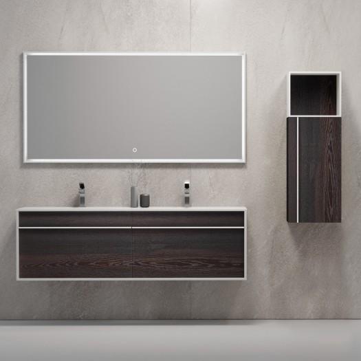 GEOMA Ensemble salle de bain - Meuble-Lavabo Double à suspendre + 1 armoire + 1 miroir LED à écran tactile