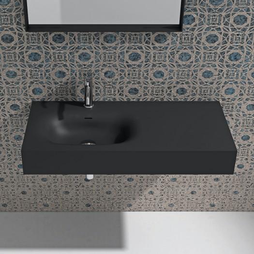 Lavabo mural Jasmin 100 Noir en Solid Surface