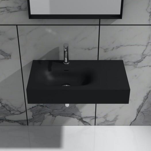 Lavabo mural Jasmin 80 Noir en Solid Surface